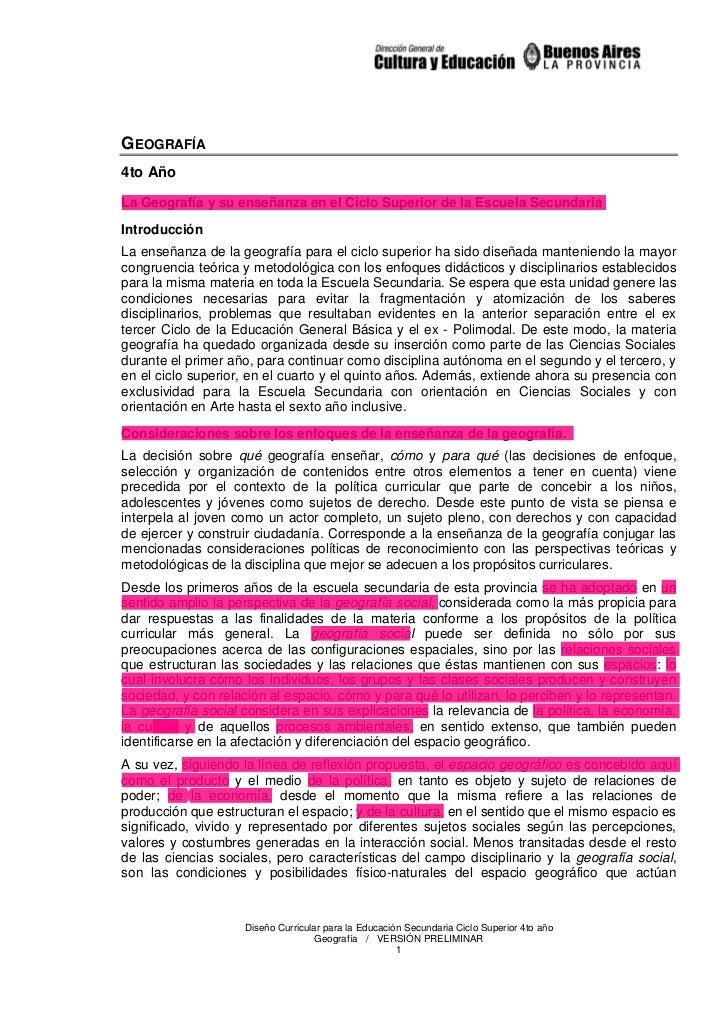 GEOGRAFÍA4to AñoLa Geografía y su enseñanza en el Ciclo Superior de la Escuela SecundariaIntroducciónLa enseñanza de la ge...