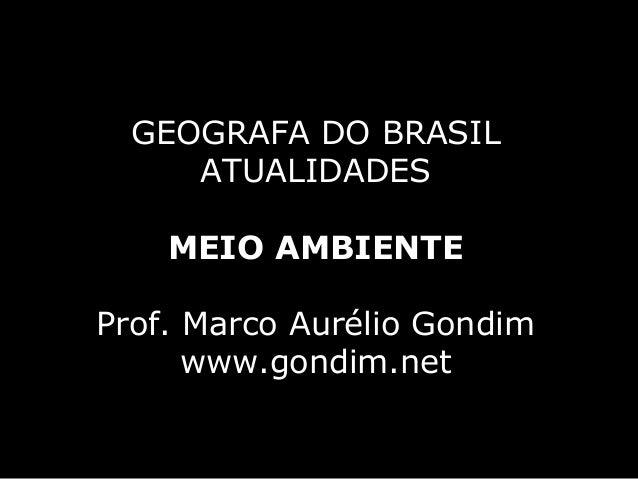 GEOGRAFA DO BRASIL     ATUALIDADES    MEIO AMBIENTEProf. Marco Aurélio Gondim      www.gondim.net