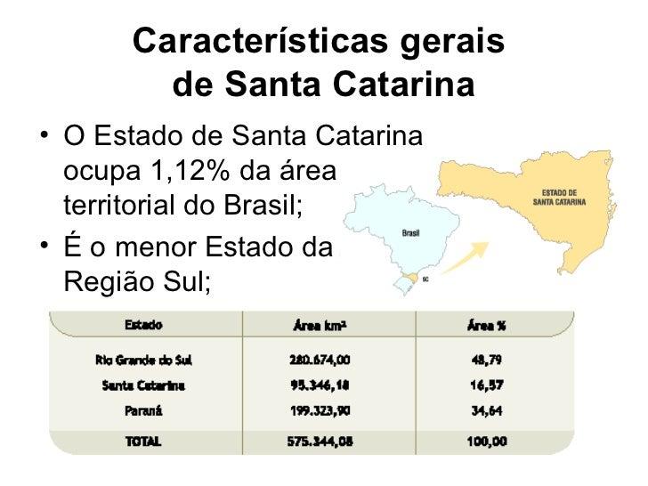 Características gerais        de Santa Catarina• O Estado de Santa Catarina  ocupa 1,12% da área  territorial do Brasil;• ...