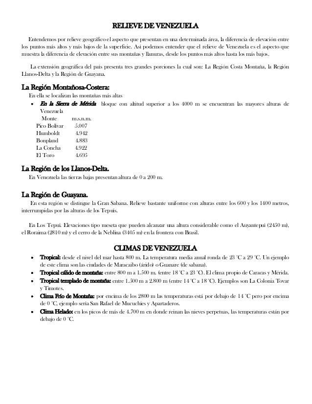 RELIEVE DE VENEZUELA Entendemos por relieve geográfico el aspecto que presentan en una determinada área, la diferencia de ...