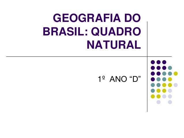 """GEOGRAFIA DO BRASIL: QUADRO NATURAL 1º ANO """"D"""""""