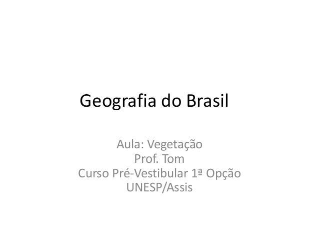 Geografia do Brasil Aula: Vegetação Prof. Tom Curso Pré-Vestibular 1ª Opção UNESP/Assis