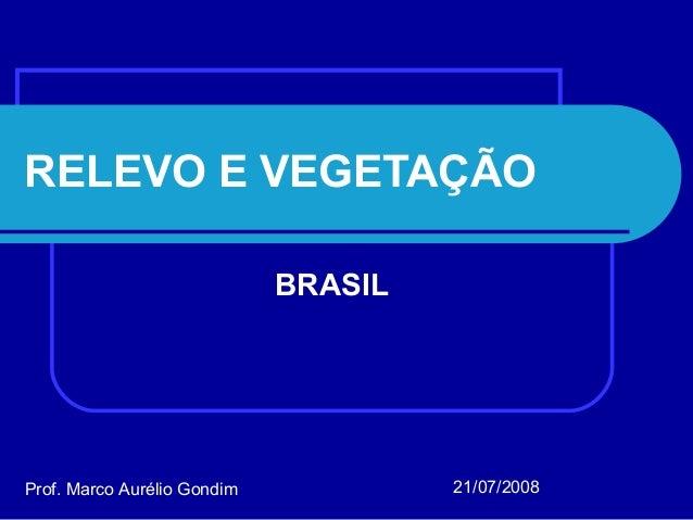 RELEVO E VEGETAÇÃO BRASIL Prof. Marco Aurélio Gondim 21/07/2008