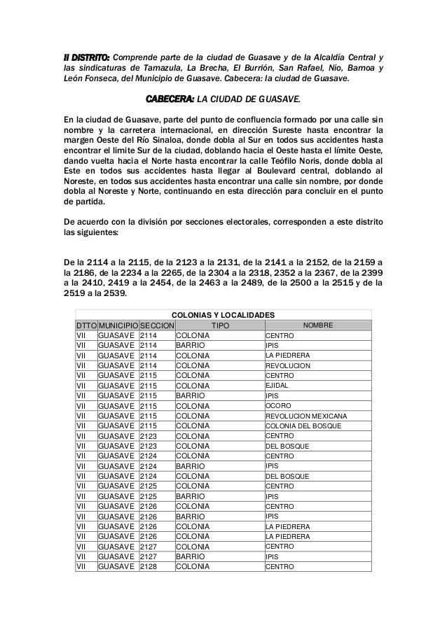 II DISTRITO: Comprende parte de la ciudad de Guasave y de la Alcaldía Central y las sindicaturas de Tamazula, La Brecha, E...