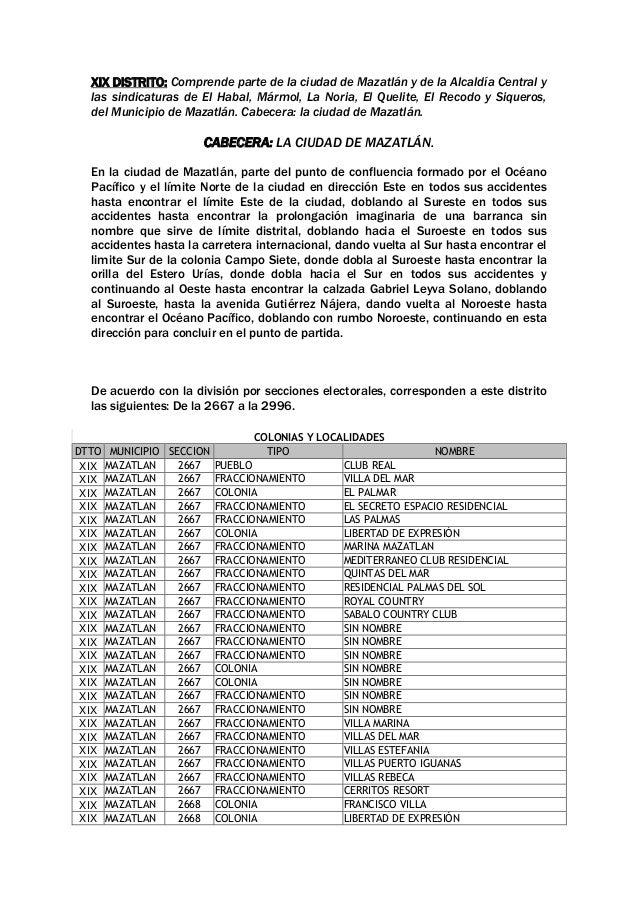 XIX DISTRITO: Comprende parte de la ciudad de Mazatlán y de la Alcaldía Central y las sindicaturas de El Habal, Mármol, La...