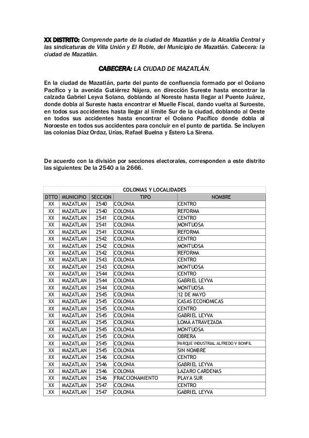 XX DISTRITO: Comprende parte de la ciudad de Mazatlán y de la Alcaldía Central y las sindicaturas de Villa Unión y El Robl...