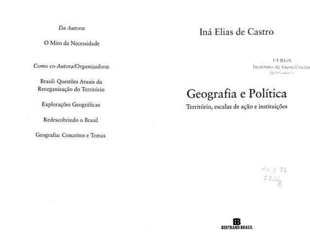 Geografia e política   iná de castro