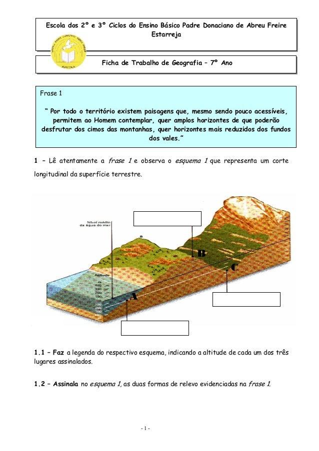 Escola dos 2º e 3º Ciclos do Ensino Básico Padre Donaciano de Abreu Freire  Estarreja  Ficha de Trabalho de Geografia – 7º...