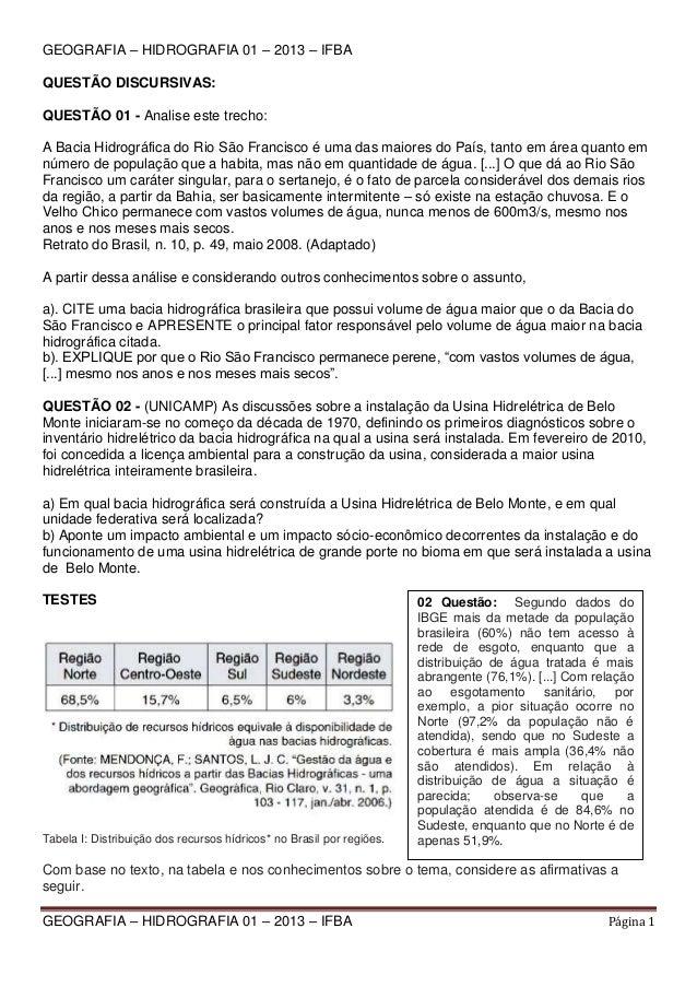 GEOGRAFIA – HIDROGRAFIA 01 – 2013 – IFBA QUESTÃO DISCURSIVAS: QUESTÃO 01 - Analise este trecho: A Bacia Hidrográfica do Ri...