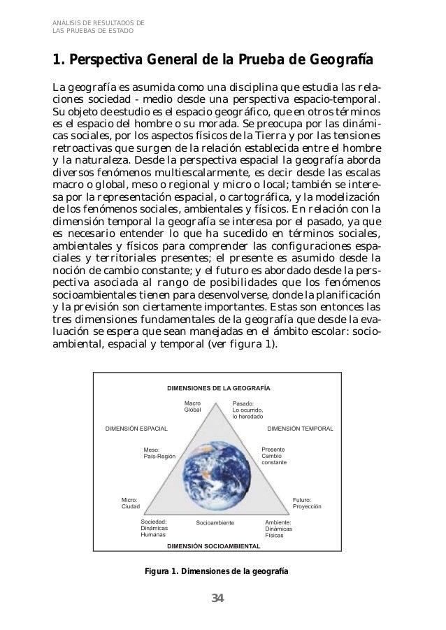 ANÁLISIS DE RESULTADOS DE  LAS PRUEBAS DE ESTADO  1. Perspectiva General de la Prueba de Geografía  La geografía es asumid...