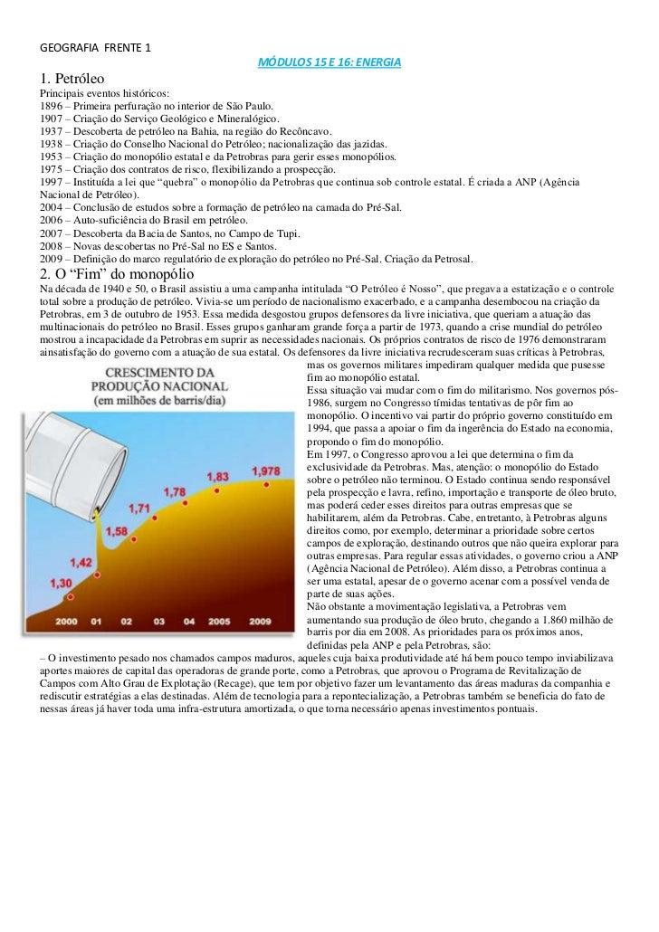 GEOGRAFIA  FRENTE 1<br />MÓDULOS 15 E 16: ENERGIA<br />1. Petróleo<br />Principais eventos históricos:<br />1896 – Primeir...