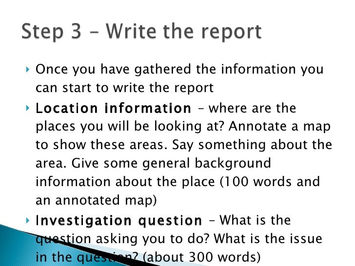 How to Format an Investigation Report