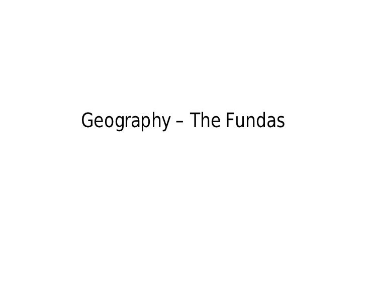 Geography – The Fundas