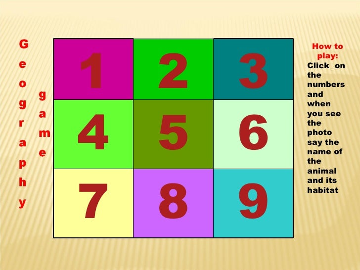 How to play: Click  on the numbers and when you see the photo say the name of the animal and its habitat 1 2 3 4 5 6 7 8 9