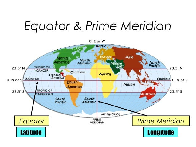 Map of continents and oceans including equator prime meridian and geography presentation 2013rhslideshare map of continents and oceans including equator prime meridian and at gstit sciox Choice Image