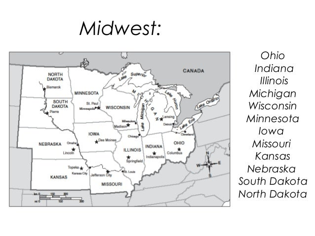 Blank Midwest Map: Map Of Midwest States And Capitals At Usa Maps