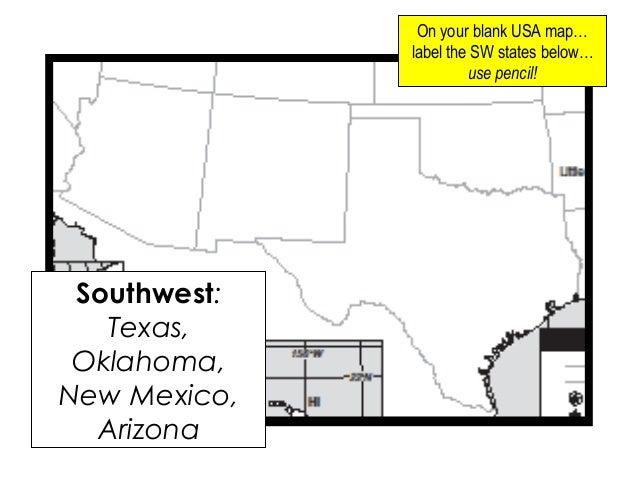 Blank Map Of Southwestern States - Free Usa Maps