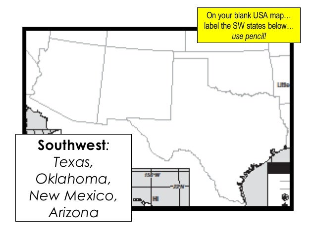 Geography Presentation - South western us map blank