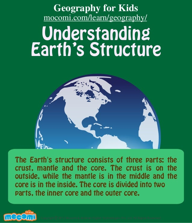 Understanding Earth's Structure The Earth's structure consists of three parts: the crust, mantle and the core. The crust i...