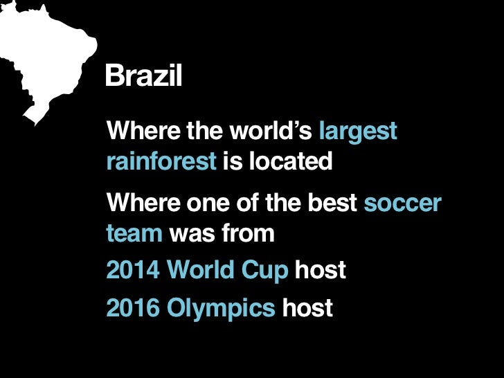BrazilWhere the world's largestrainforest is locatedWhere one of the best soccerteam was from2014 World Cup host2016 Olymp...