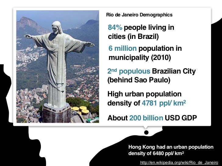 Rio de Janeiro Demographics84% people living incities (in Brazil) 6 million population in municipality (2010)2nd populous ...