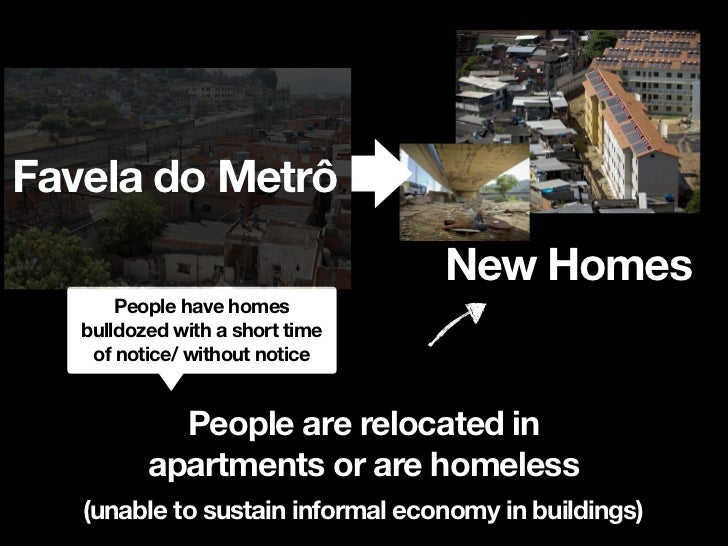 Favela do Metrô                      New Homes      unemployment and loss of         jobs for poor people