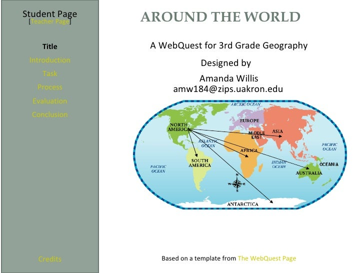 Student Page      AROUND THE WORLD [Teacher Page]     Title         A WebQuest for 3rd Grade Geography Introduction       ...