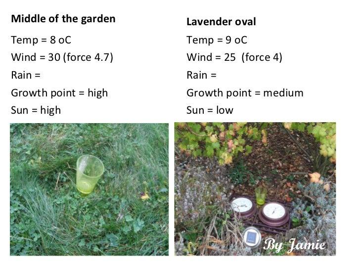 <ul><li>Middle of the garden </li></ul><ul><li>Temp = 8 oC </li></ul><ul><li>Wind = 30 (force 4.7) </li></ul><ul><li>Rain ...