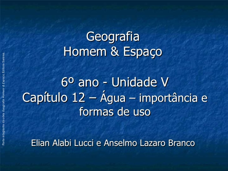 Geografia  Homem & Espaço  6º ano - Unidade V Capítulo 12 –  Água – importância e formas de uso Elian Alabi Lucci e Anselm...