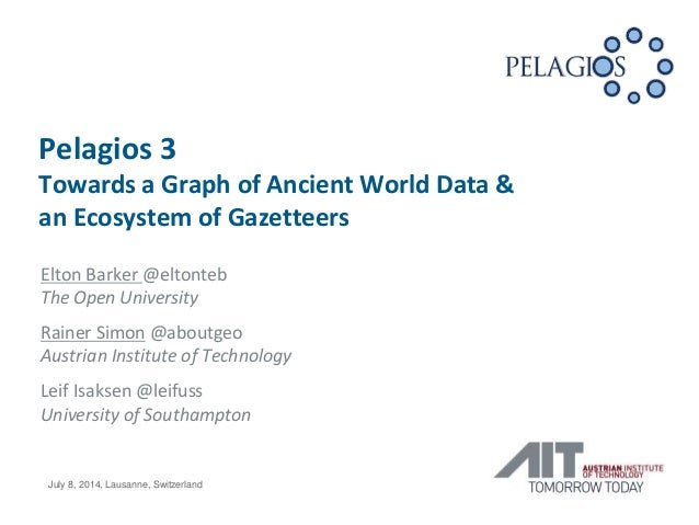 Pelagios 3 Towards a Graph of Ancient World Data & an Ecosystem of Gazetteers Elton Barker @eltonteb The Open University R...