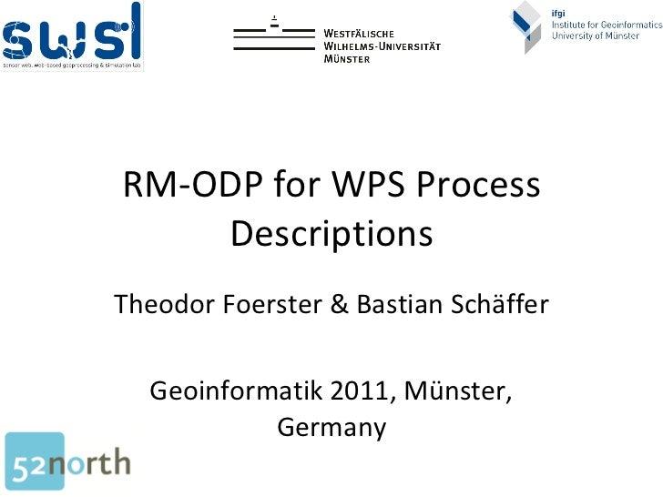 RM-ODP for WPS Process Descriptions Theodor Foerster & Bastian Schäffer Geoinformatik 2011, Münster, Germany
