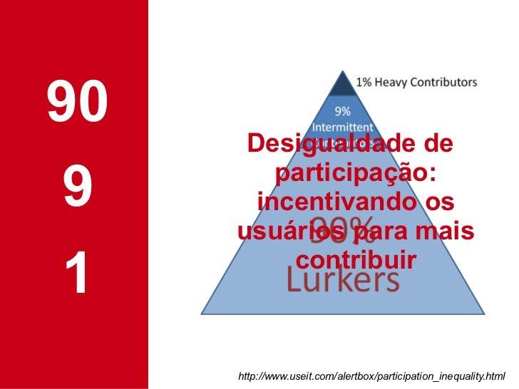 90 9 1 Desigualdade de participação: incentivando os usuários para mais contribuir http://www.useit.com/alertbox/participa...