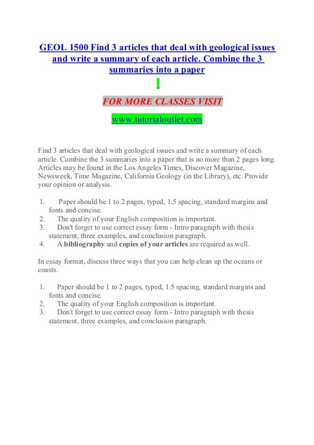 how to write summary of an article