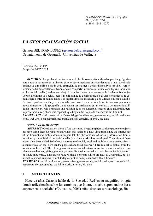 POLÍGONOS. Revista de Geografía 2015, nº 27, 97-118 e ISSN – 2444–0272 Polígonos. Revista de Geografía, 27 (2015); 97-118 ...