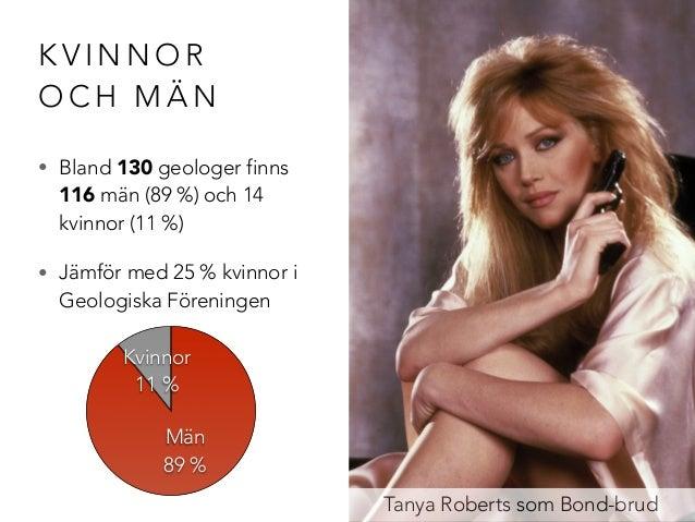 KVINNOR  OCH MÄN  • Bland 130 geologer finns  116 män (89 %) och 14  kvinnor (11 %)  • Jämför med 25 % kvinnor i  Geologis...