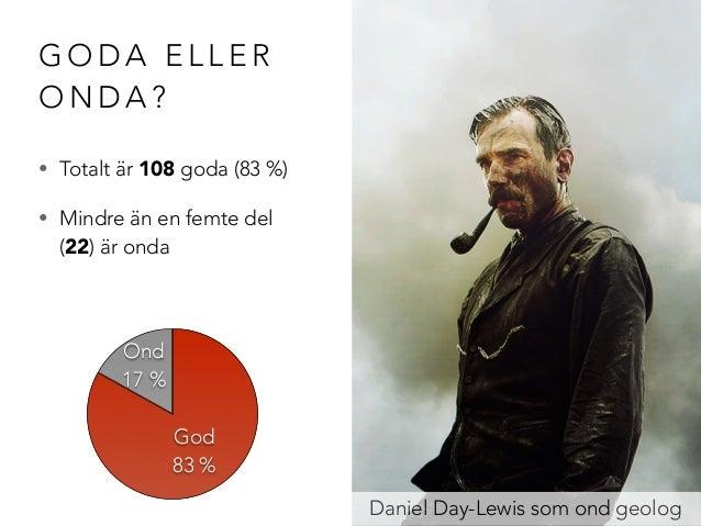 GODA ELLER  ONDA?  • Totalt är 108 goda (83 %)  • Mindre än en femte del  (22) är onda  Daniel Day-Lewis som ond geolog  O...
