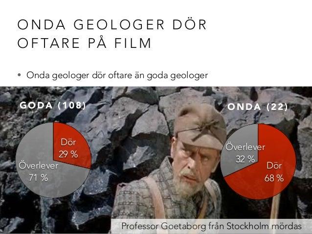 ONDA GEOLOGER DÖR  OFTARE PÅ FILM  • Onda geologer dör oftare än goda geologer  Professor Goetaborg från Stockholm mördas ...