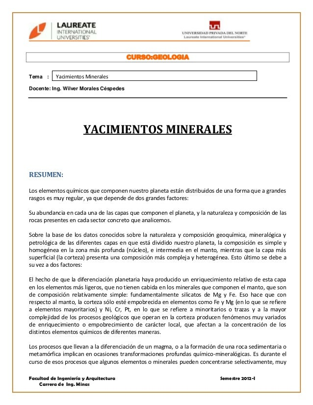 Yacimientos minerales_UPN Slide 3
