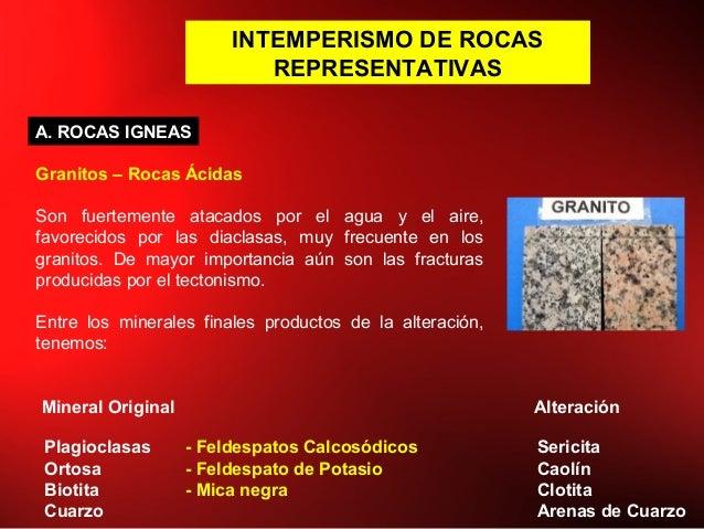 INTEMPERISMO DE ROCAS REPRESENTATIVAS A. ROCAS IGNEAS Granitos – Rocas Ácidas Son fuertemente atacados por el agua y el ai...