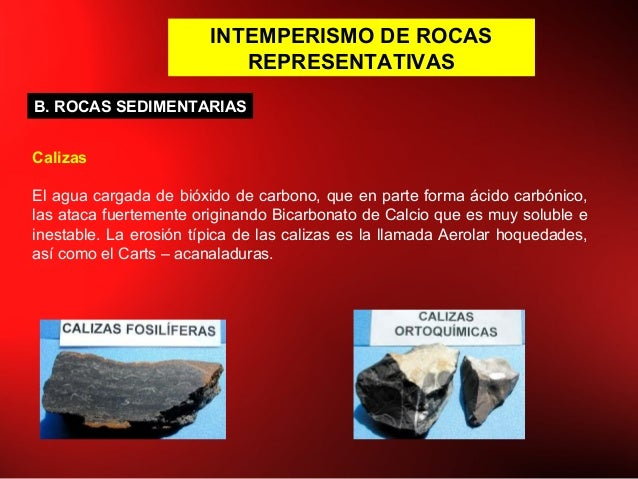 INTEMPERISMO DE ROCAS REPRESENTATIVAS Calizas El agua cargada de bióxido de carbono, que en parte forma ácido carbónico, l...
