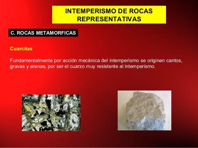 INTEMPERISMO DE ROCAS REPRESENTATIVAS Cuarcitas Fundamentalmente por acción mecánica del intemperismo se originan cantos, ...