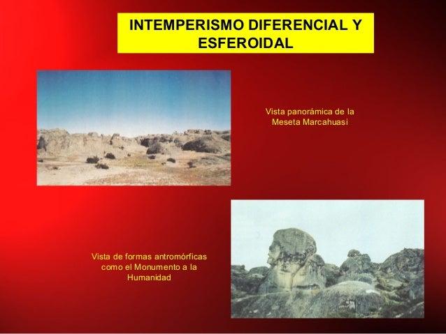 INTEMPERISMO DIFERENCIAL Y ESFEROIDAL Vista panorámica de la Meseta Marcahuasi Vista de formas antromórficas como el Monum...