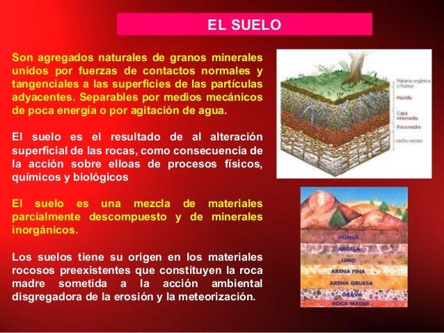EL SUELO Son agregados naturales de granos minerales unidos por fuerzas de contactos normales y tangenciales a las superfi...