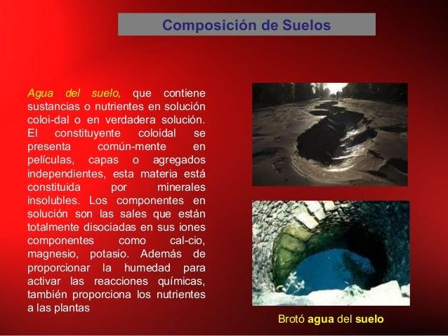 Composición de Suelos Agua del suelo, que contiene sustancias o nutrientes en solución coloidal o en verdadera solución. ...