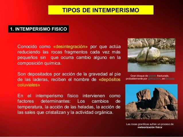 TIPOS DE INTEMPERISMO 1. INTEMPERISMO FISICO Conocido como «desintegración» por que actúa reduciendo las rocas fragmentos ...