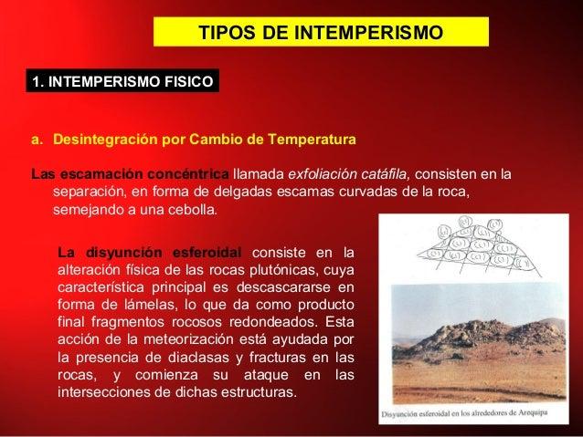 TIPOS DE INTEMPERISMO a. Desintegración por Cambio de Temperatura Las escamación concéntrica llamada exfoliación catáfila,...