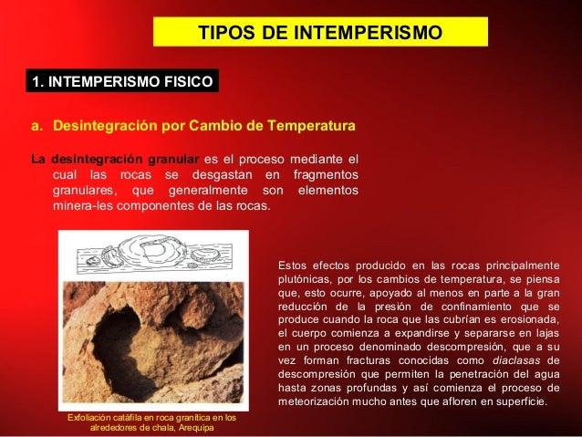 TIPOS DE INTEMPERISMO a. Desintegración por Cambio de Temperatura La desintegración granular es el proceso mediante el cua...