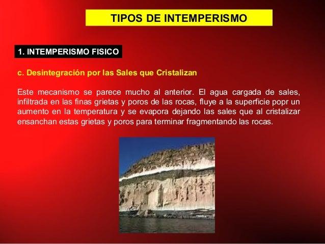 TIPOS DE INTEMPERISMO c. Desintegración por las Sales que Cristalizan Este mecanismo se parece mucho al anterior. El agua ...