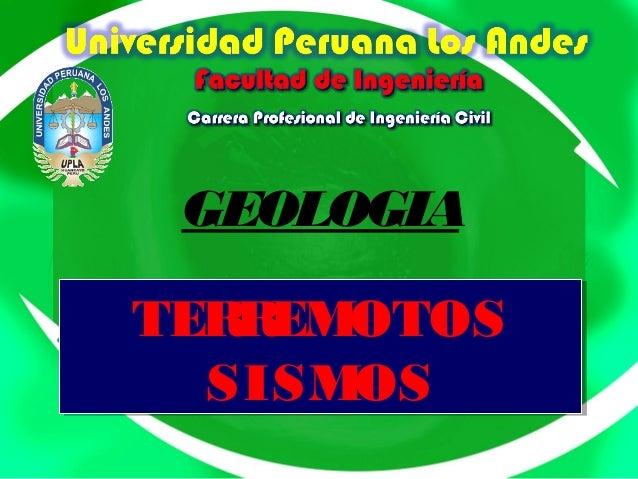 GEOLOGIA TERREMOTOS SISMOS TERREMOTOS SISMOS