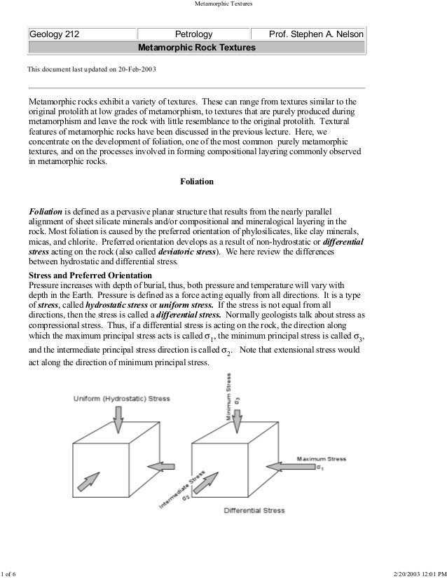 Geology 212 Petrology Prof. Stephen A. Nelson Metamorphic Rock Textures This document last updated on 20-Feb-2003 Metamorp...